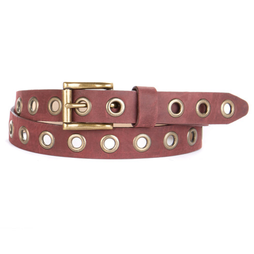 Dai Skinny Studded Leather Belt in Wine