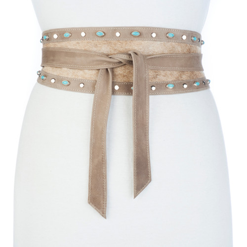 Marijan Hair-on wrap belt in brindle