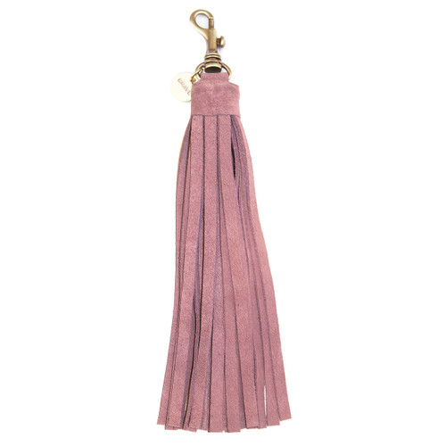 LEATHER TASSEL KEYCHAIN IN PINK SUEDE