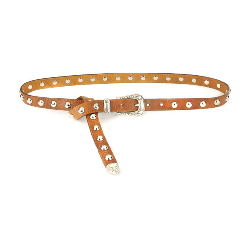 Betje Studded Skinny Western Belt in Brandy