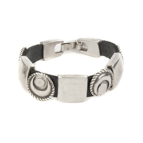 Laima Leather Cuff with Metallic Accents