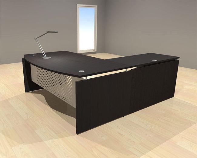 3pc l shape modern contemporary executive office desk set for S shaped office desk