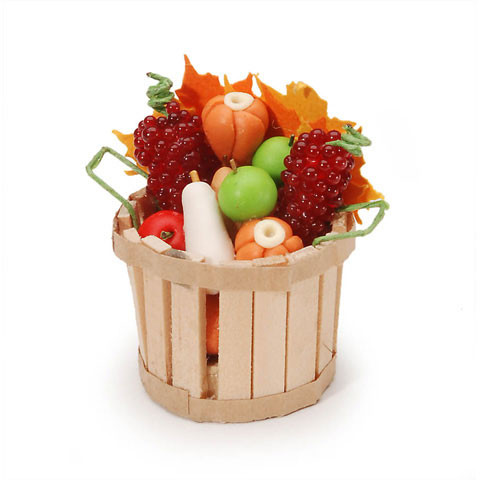 Fall basket of fruits and vegetables