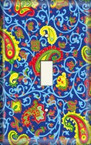Blue and Yellow Paisley - Light Switch Plate Cover