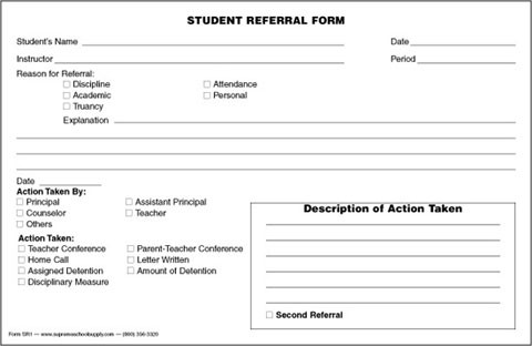 Student Referral Form Srf  Supreme School Supply