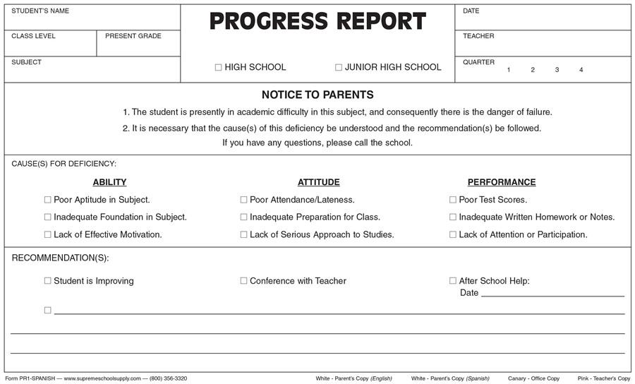 Progress Report, Triplicate (PR1-SPANISH) - Supreme School Supply