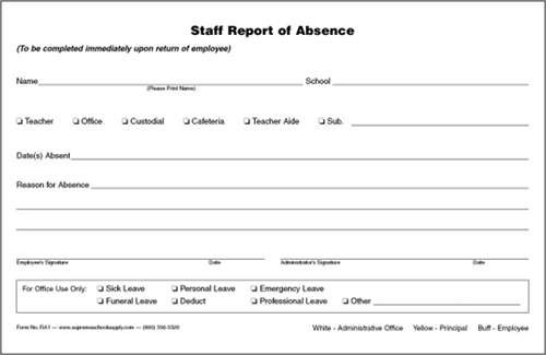 Staff Report Of Absence Triplicate Ra  Supreme School Supply