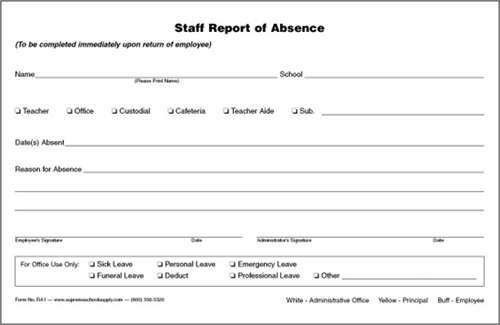 Staff Report Of Absence Triplicate Ra  Supreme School Supply