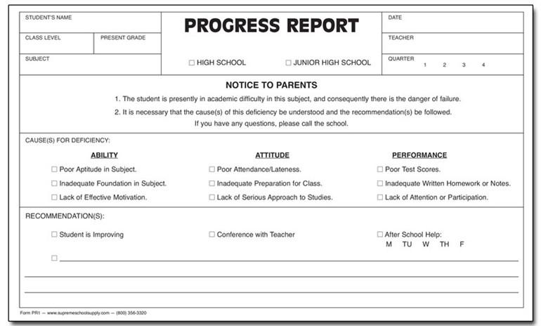 Progress Report, Triplicate (PR1) - Supreme School Supply