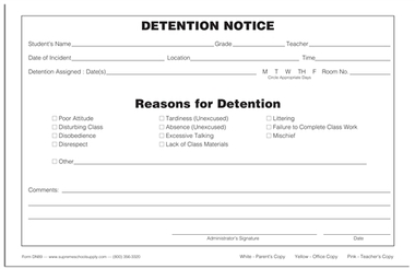 Detention slip template