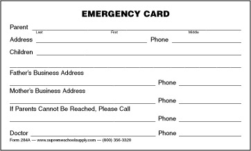 Emergency information card 284a supreme school supply for Medical alert wallet card template