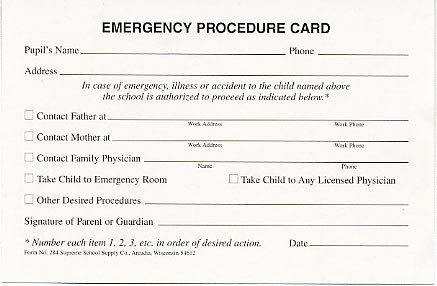 emergency procedure card 284 supreme school supply