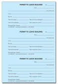 Permit To Leave Building Book Carbonless Duplicates (248D-NCR)