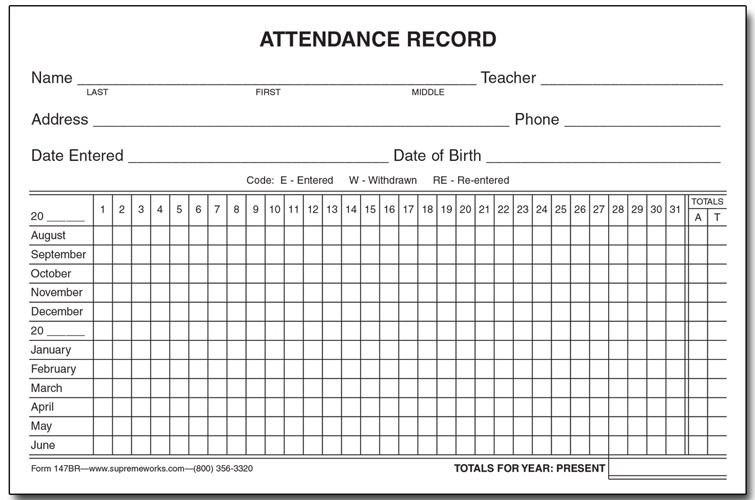Attendance Record Card, Yearly (147BR) - Supreme School Supply
