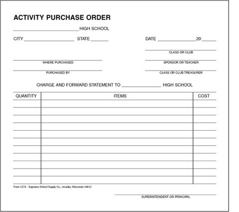 High School Activity Purchase Order A  Supreme School Supply