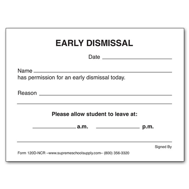 Early Dismissal Book Carbonless (120D-NCR) - Supreme School Supply