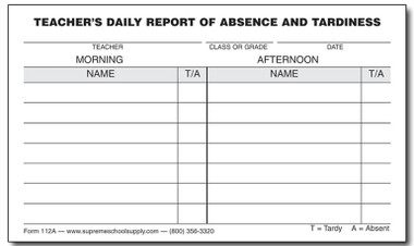 Daily absent tardy report 112a supreme school supply daily absent tardy report 112a thecheapjerseys Images