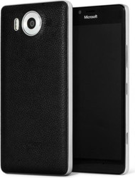 Mozo Microsoft Lumia 950 Qi Wireless Charging Back Cover Case with NFC - Black/Silver (950BBSWN)