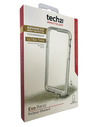 Genuine Tech21 Evo Band Durable Impact Resistant Case Cover with FlexShock Technology for iPhone 6/6S - Clear/White
