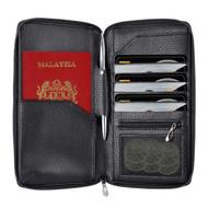 InventCase PU Leather RFID Blocking Passport / ID Card / Money Wallet Organiser Holder Case Cover for Malaysian Passports - Black