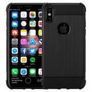 InventCase Premium Carbon Fibre Brushed TPU Gel Case Cover Skin for the Apple iPhone X (5.8 inch) - Black