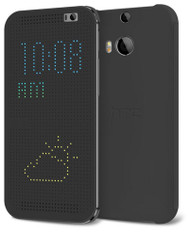 Genuine Official HTC Dot Flip Cover Case for HTC One (M8) HC M100 - Grey