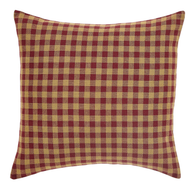 Burgundy Check Fabric Filled Pillow 16x16