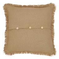 Burlap Natural Fabric Euro Sham w/ Fringed Ruffle 26x26