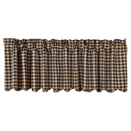 Black Check Scalloped Valance 16x72