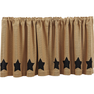 Burlap Natural Tier Black Stencil Stars Set of 2 L24xW36