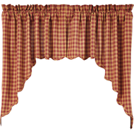 Burgundy Check Scalloped Swag Set of 2 36x36x16
