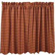 Burgundy Check Scalloped Tier Set of 2 L36xW36