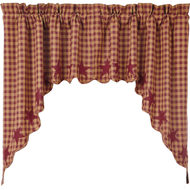 Burgundy Star Scalloped Swag Set of 2 36x36x16