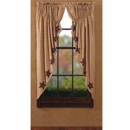 Bingham Star Prairie Curtain Applique Lined Set 2 63x36x18
