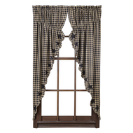 Black Star Scalloped Prairie Curtain Set of 2 63x36x18