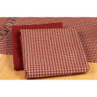 "Newbury Gingham 18"" x 28"" Barn Red - Oat"