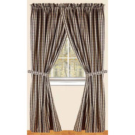 "Heritage House Check 72"" x 63"" (2 pcs)(pair of fabric tiebacks included) Black - Nutmeg"