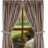 "Heritage House Check 84"" x 86"" (2 pcs)(pair of fabric tiebacks included) Black - Nutmeg"