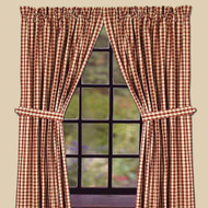 "Heritage House Check 84"" x 86"" (2 pcs)(pair of fabric tiebacks included) Barn Red - Nutmeg"