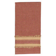 "Newbury Gingham Red w/Oat Trim 18"" x 28"" Barn Red - Oat"