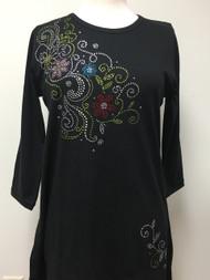 Multi Flower & Swirl 3/4 Sleeve Tunic Black