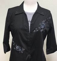 Black in Bloom 3/4 Sleeve Shirt