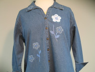 Denim Floral 3/4 Sleeve Shirt