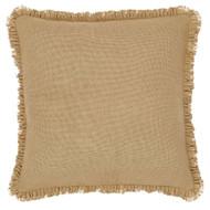 Burlap Natural Ruffled Fringed Filled Pillow 16x16