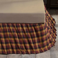Primitive Check King Bed Skirt 78x80x16