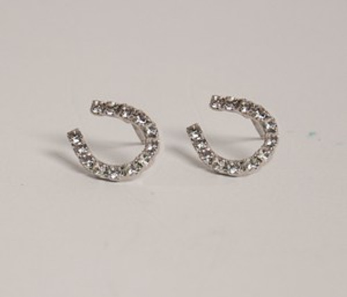 RHINESTONE HORSESHOE EARRINGS 1/2""