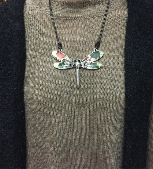 Leather/MultiColored Dragonfly Necklace