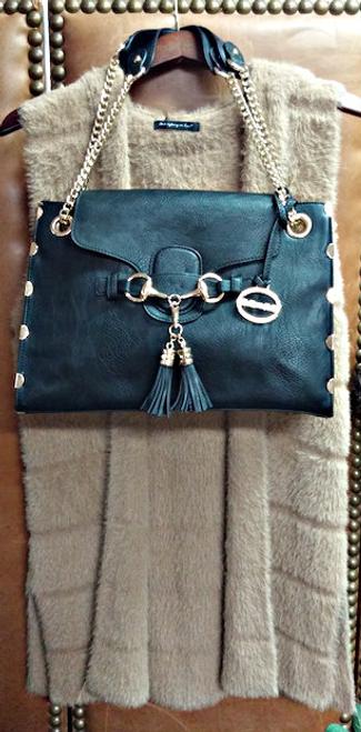 Ladies' Black Vegan Leather Handbag