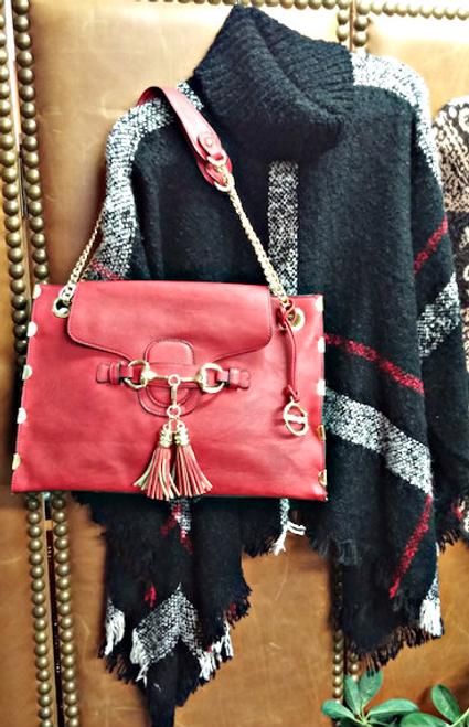 Ladies' Red Vegan Leather Handbag