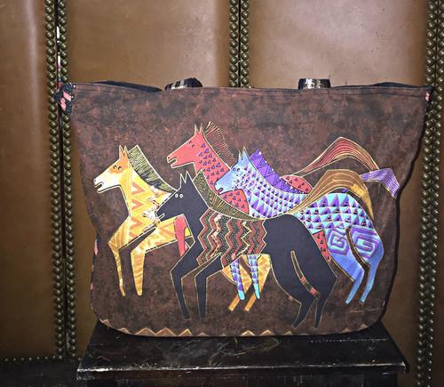 Laurel Birch Brown Zig Zag Horse Tote